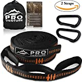 Pro Hammock Tree Hanging Straps (Set of 2) w/ CARABINERS – 400LB rated (1200LB tested), Adjustable 30+2 Loops, Non-Stretch, Easy Setup, Heavy Duty, Tree Friendly