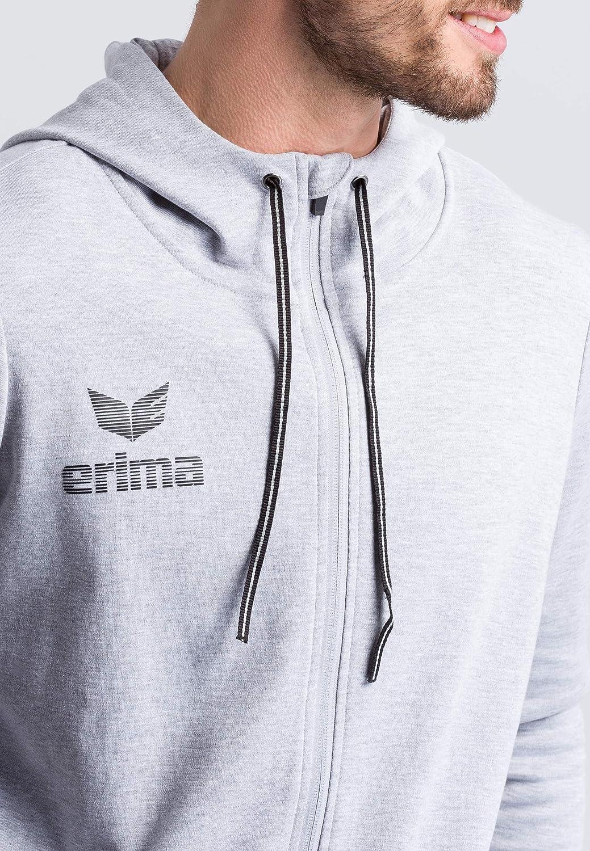 Erima Herren Essential Kapuzensweatjacke Grau(hellgrau Melange/Schwarz)