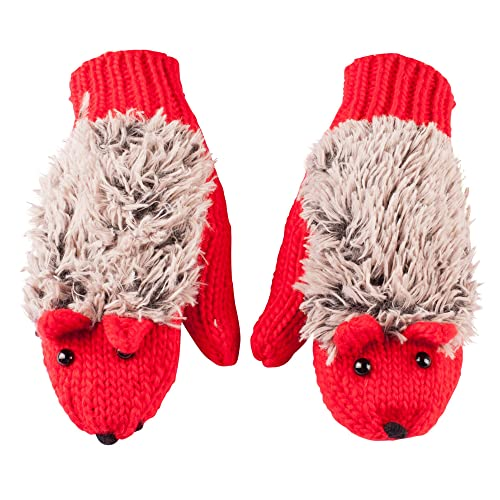 GLV201-Red Knitted Hedgehog Mittens with Soft Faux Fur and Face Detail