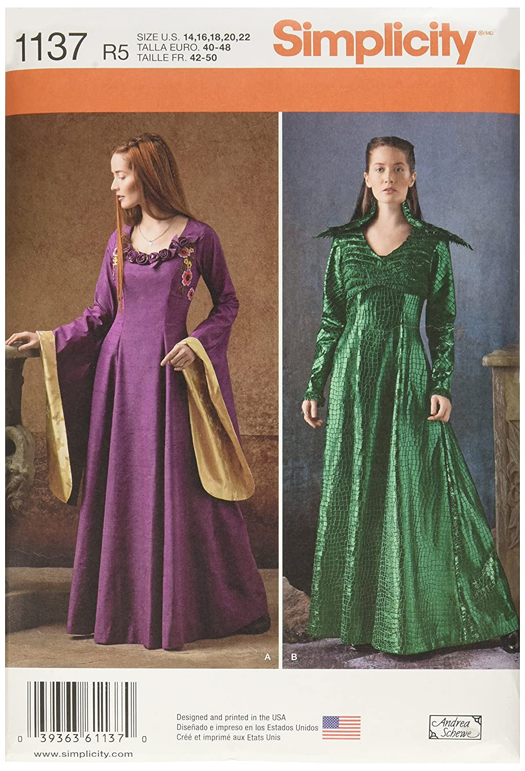 Simplicity Patterns 1137 Misses' Medieval Fantasy Costumes, R5 (14-16-18-20-22) OUTLOOK GROUP CORP