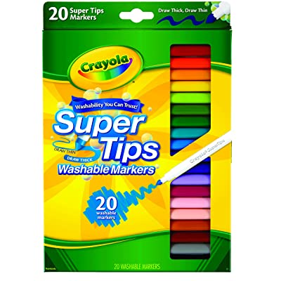 Crayola Super Tips Markers, Washable Markers, Assorted Colors, 20 Count: Toys & Games