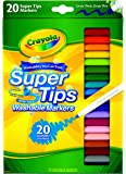 Crayola 20 SuperTips Markers, Washable, pens, Colouring, Fun, Gifts, Education, Project, booklist, Classroom, School, Non Toxic