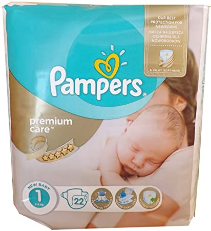 22 pañales Pampers, GR Premium Care, 1 2-5 kg, nuevo bebé