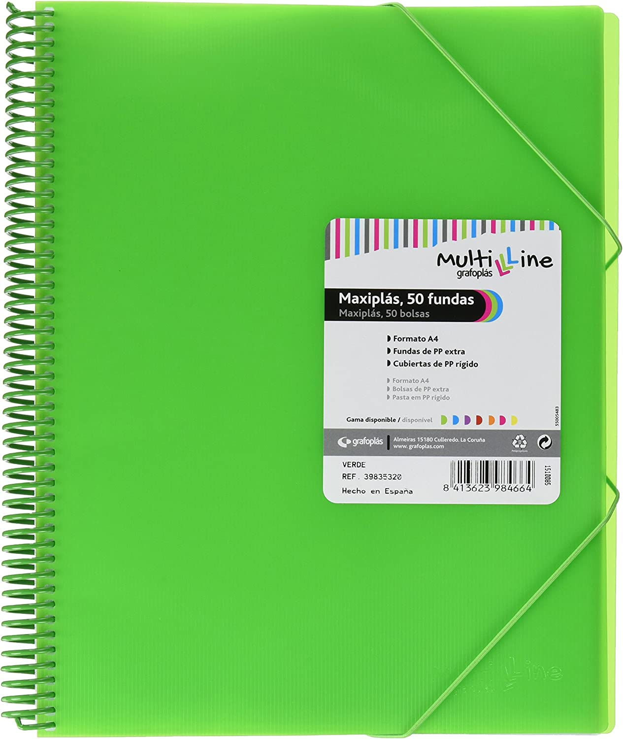 Grafoplás 39835320 - Carpeta 50 fundas A4 de espiral - Color verde