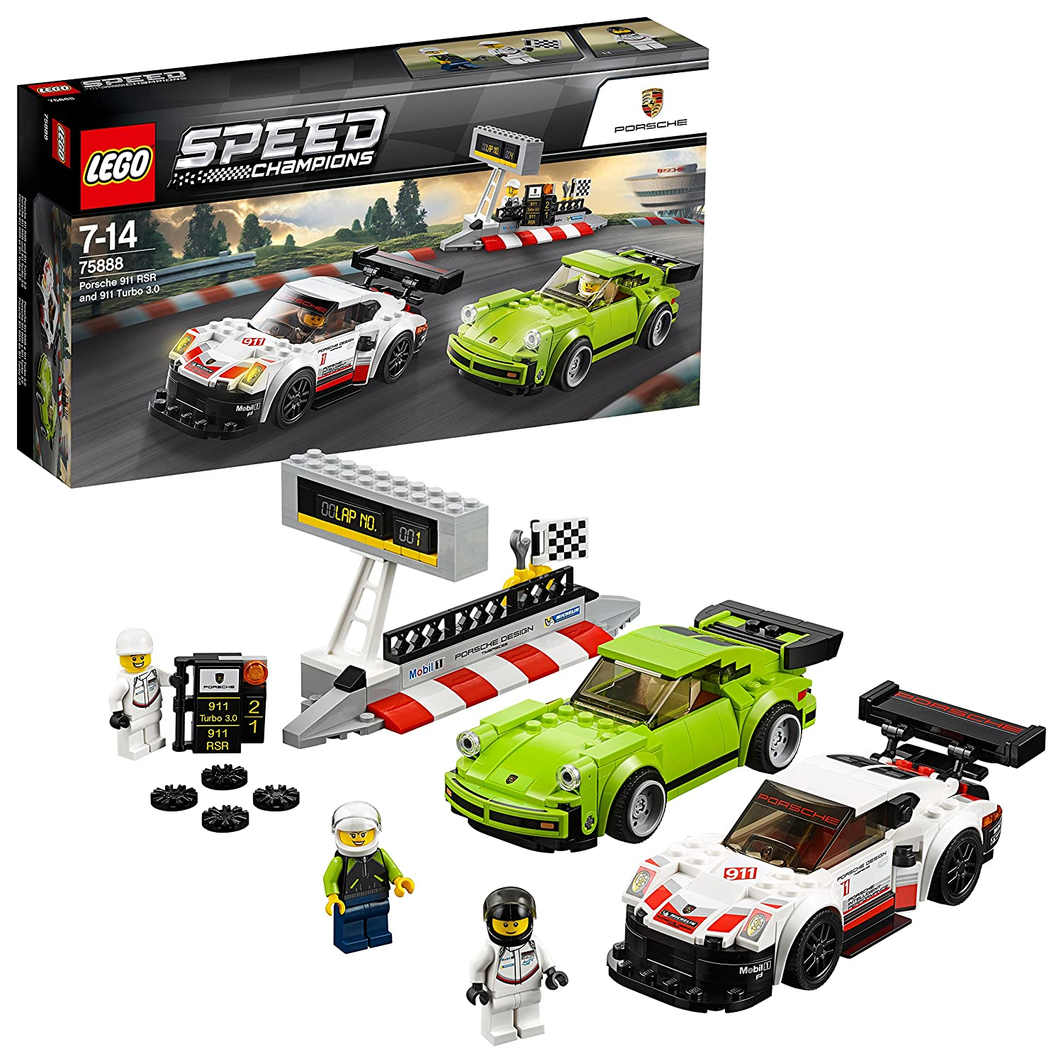 Amazon.com: LEGO Speed Champions Porsche 911 RSR and 911 Turbo 3.0 75888: Toys & Games