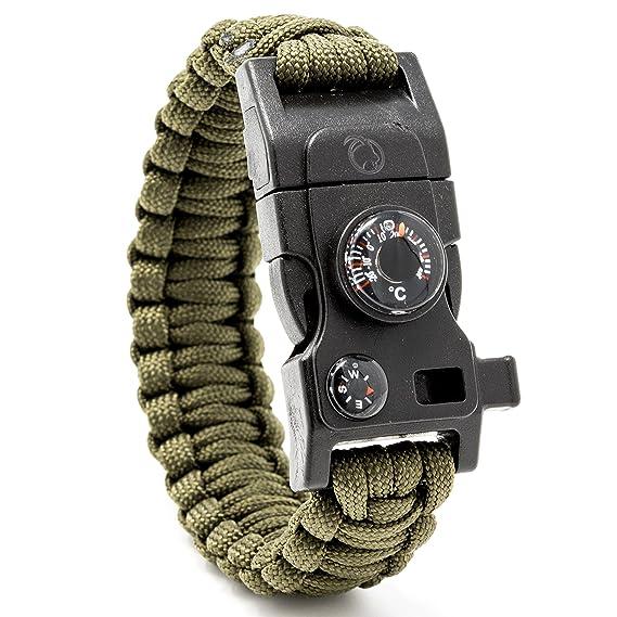 Steinbock7® Pulsera de supervivencia 16en 1, correa de Paracord, silbato, pedernal, cuchillo, brújula, termómetro, multiherramientas, Army-Grün, 23 cm