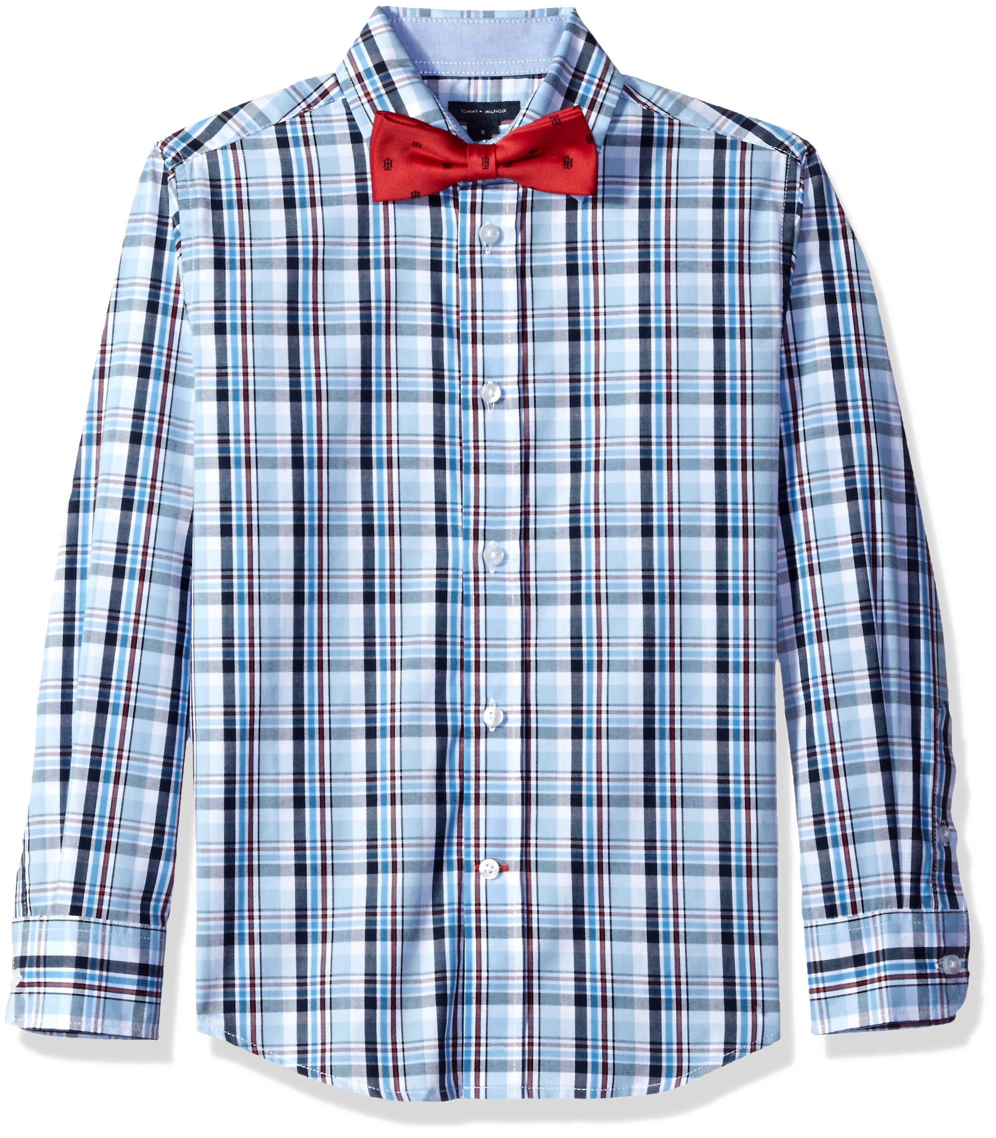 Tommy Hilfiger Big Boys' Plaid Shirt with Bow Tie, Light Blue, 20
