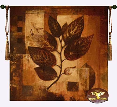 Abstract Autumn Fall Leaf Jacquard Woven 39 w X 39 l Wall Hanging Tapestry cushion cover