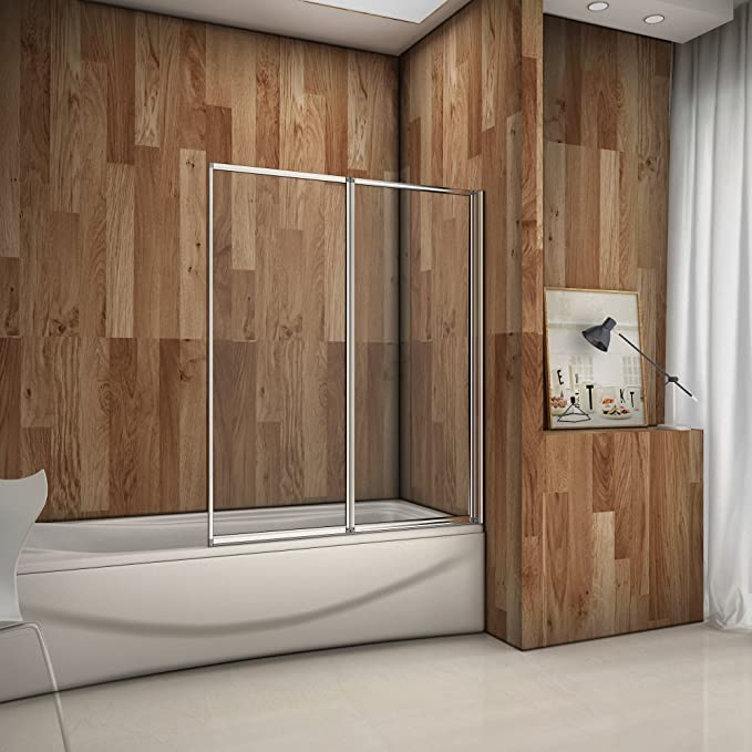 Mampara Pared Plegable de Bañera Cristal 4 mm 120x140cm: Amazon.es ...