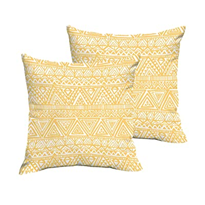 Mozaic AMPS115151 Indoor Outdoor Square Pillows, Set of 2, 16 x 16, Yellow with Triangles : Garden & Outdoor