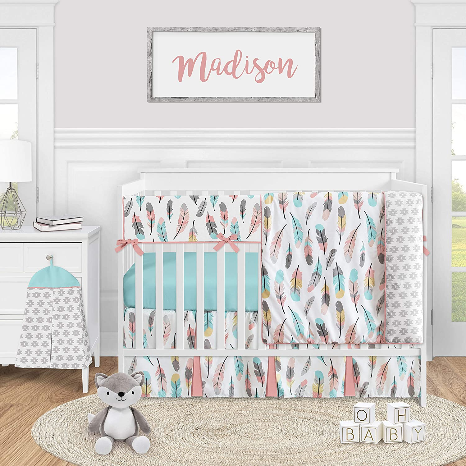 Sweet Jojo Designs Boho Feather Baby Girl Nursery Crib Bedding Set - 5 Pieces - Turquoise Blue Coral and Grey