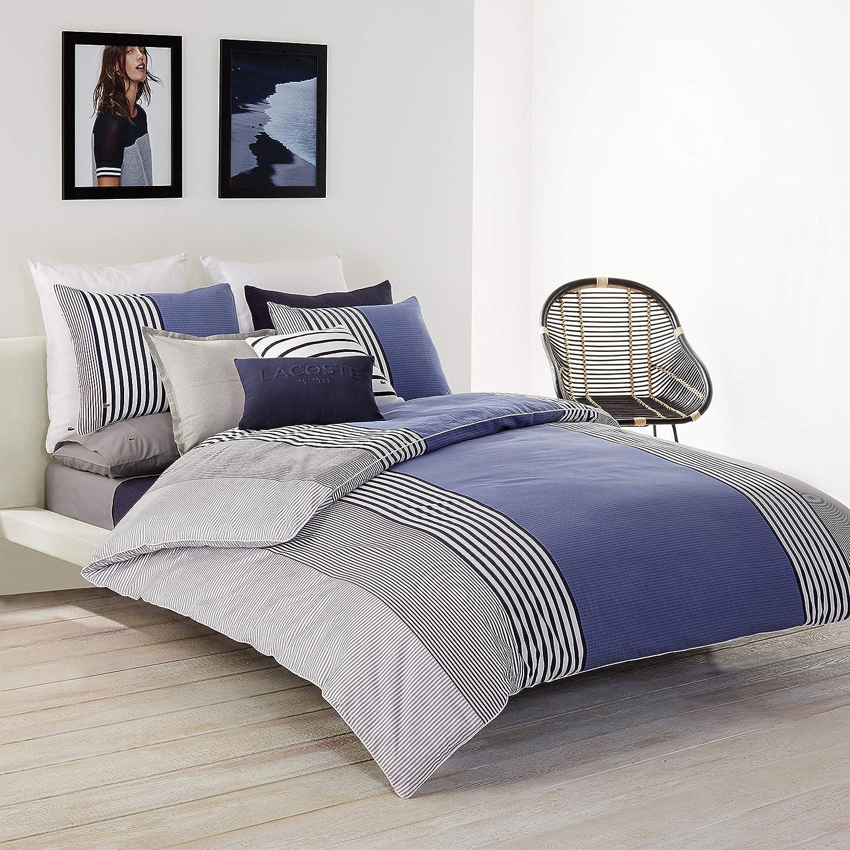 Lacoste Meribel Duvet Set, Twin/TwinXL, Blue/White