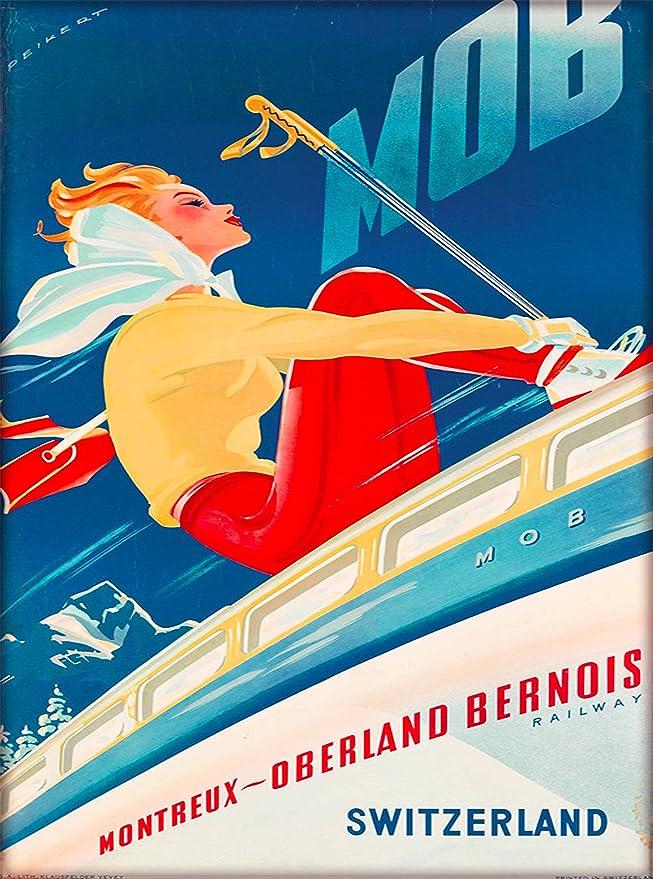 Jungfrau Bahn vintage ski travel poster repro 16x24