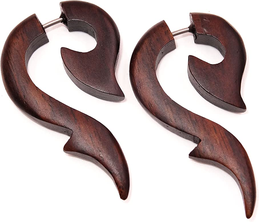 Faux Dilatador madera pendientes Piercing Wooden Gauge Fake ...