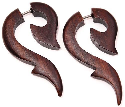 Faux Dilatador madera pendientes Piercing Wooden Gauge Fake-Earring: Amazon.es: Joyería