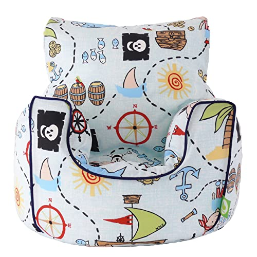 Cotton Blue Pirate Island Bean Bag Arm Chair with Beans Toddler Size From Bean Lazy