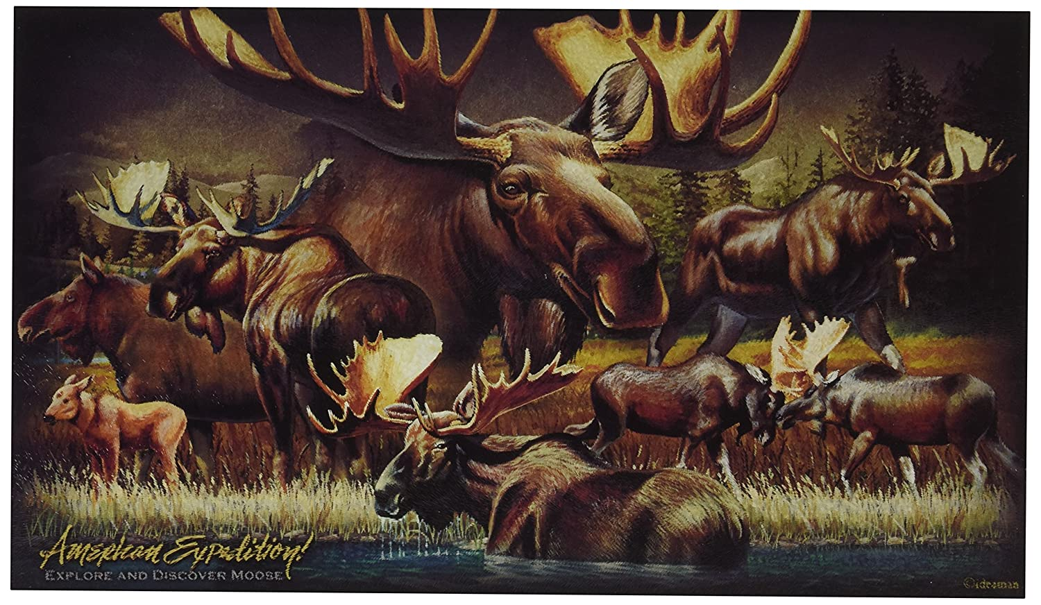 Wildlife Collage Tempered Glass Cutting Board (American Elk) American Expedition CBRD-304