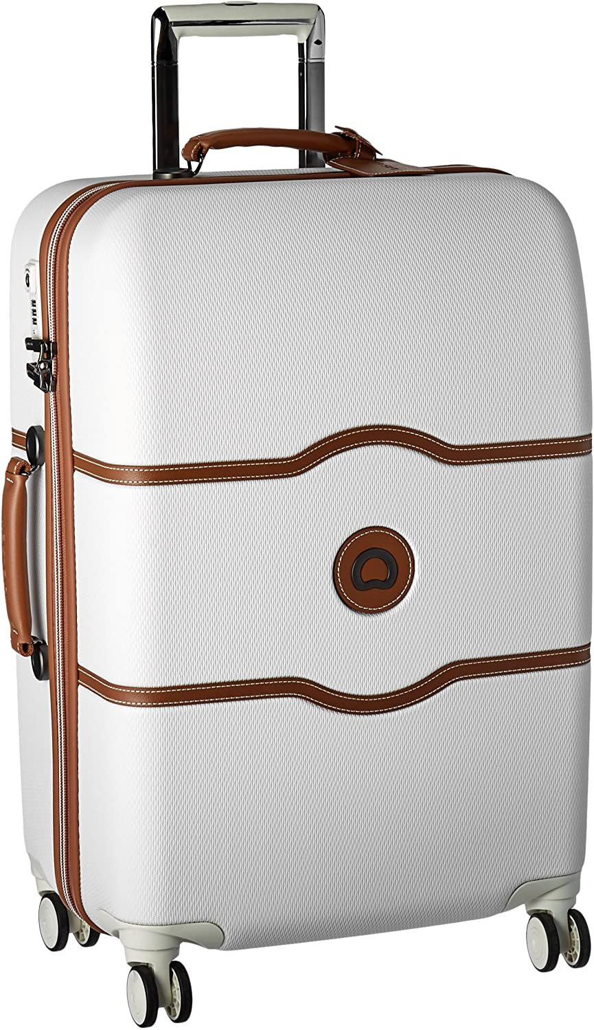 DELSEY Paris Chatelet Hard+ Hardside Luggage with Spinner Wheels, Champagne White, Checked-Medium 24 Inch