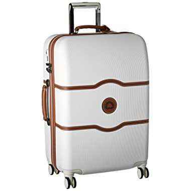 DELSEY Paris Chatelet Hard+ Hardside Medium Checked Spinner Suitcase, Champagne White, 24-Inch