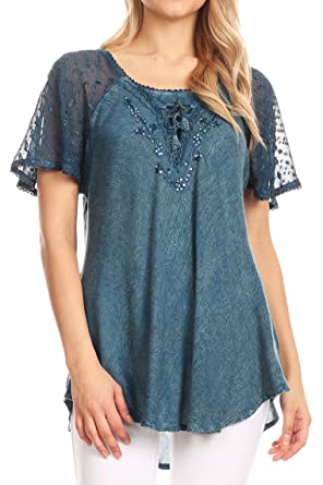 952c2085b5fc4 Sakkas 15783 - Ellie Sequin Embroidered Cap Sleeve Scoop Neck Relaxed Fit  Blouse - Teal Blue - OSP  Amazon.co.uk  Clothing