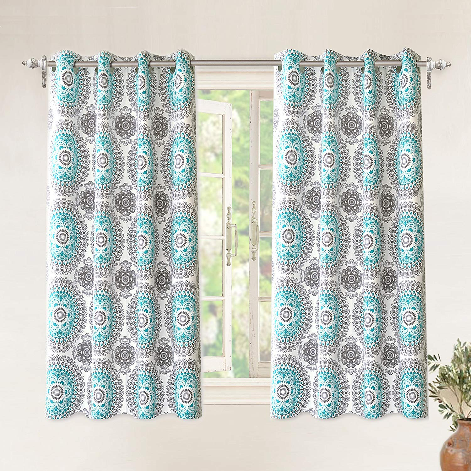 DriftAway Bella Medallion and Floral Pattern Room Darkening and Thermal Insulated Grommet Window Curtains 2 Panels Each 52 Inch by 63 Inch Aqua and Gray by DriftAway