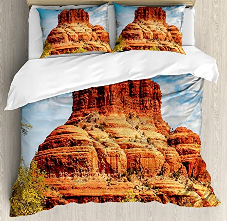 Ambesonne Western Duvet Cover Set Famous Bell Rock And Courthouse Butte In Sedona Arizona Usa Nature Desert Decorative 3 Piece Bedding Set With 2 Pillow Shams Queen Size Cinnamon Blue Green