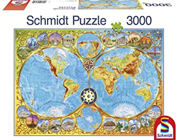 Schmidt world map jigsaw 3000 pieces amazon toys games schmidt world map jigsaw 3000 pieces gumiabroncs Image collections