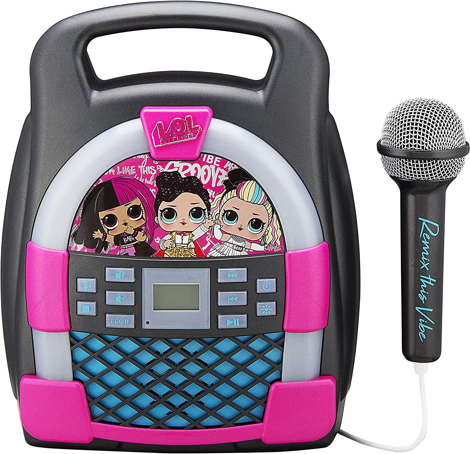 Bluetooth Portable MP3 Karaoke Machine Player with Light Show Store Hours of Music with Built in Memory Sing Along Using The Real Working Microphone Surprise Remix KIDdesigns L.O.L