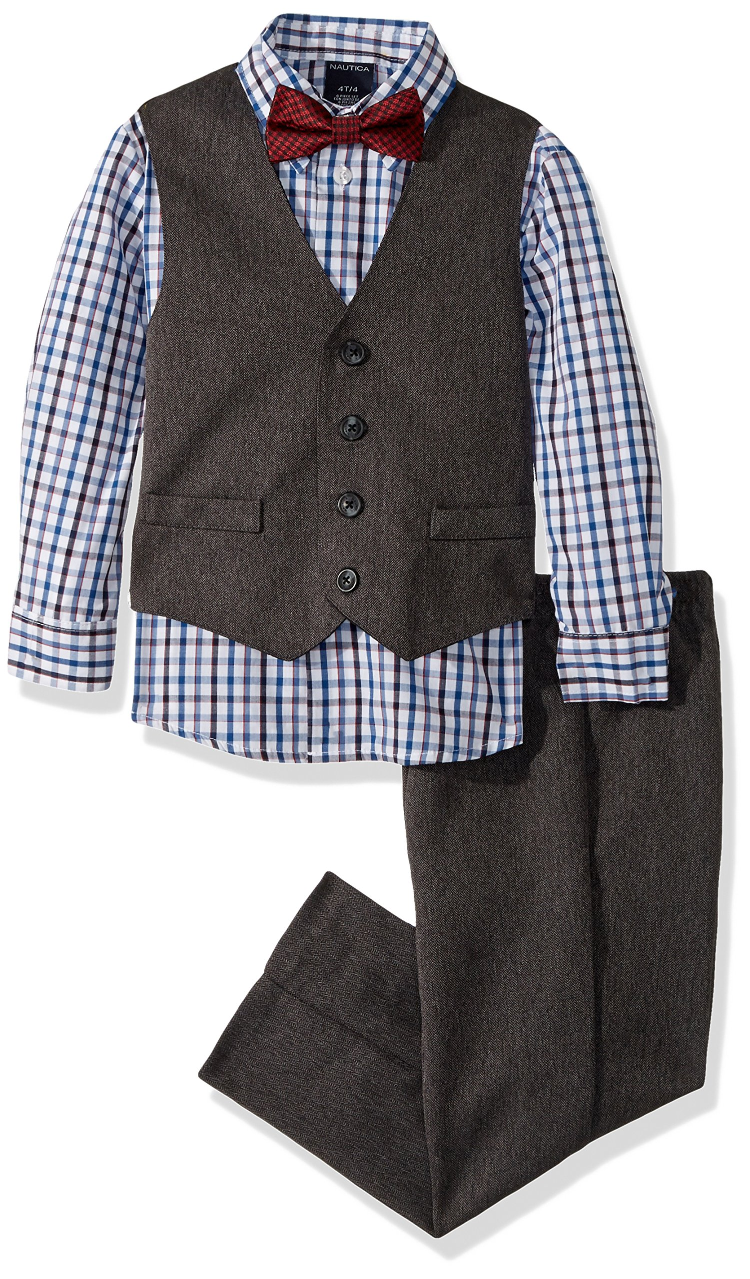 Nautica Little Boys' Set with Vest, Pant, Shirt, and Bow Tie, Red Herringbone, 6