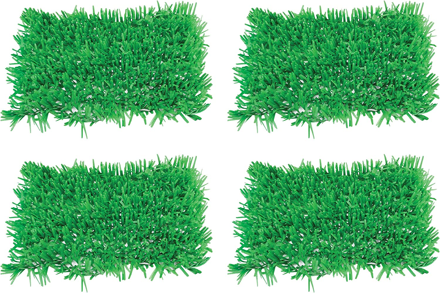 Beistle 4 Piece Green Tissue Paper Grass Mats For Happy Easter And Spring Summer Decorations Celebrations, Fairy Garden Luau Theme Party Supplies