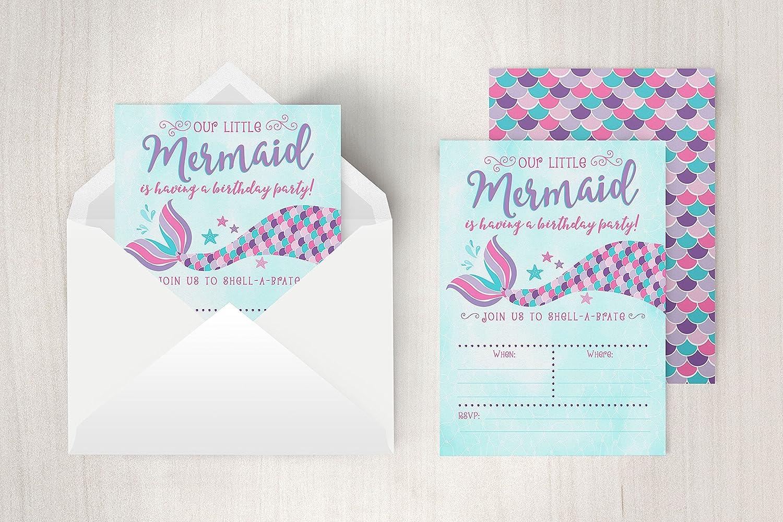 Amazon.com: Your Main Event Prints Mermaid Birthday Invitations ...