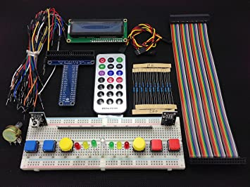 [Sintron] New 40-Pin T-Cobbler GPIO Extension Board Starter Kit with 1602  LCD Display + Switch + DS18B20 Temperature Sensor Module + IR Remote Sensor