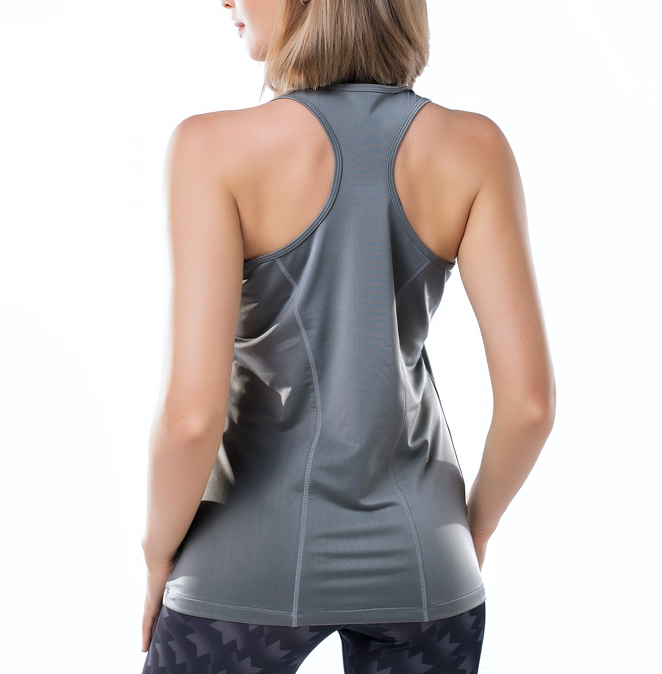 Tuerton Activewear Running Workout Clothes Exercise Yoga Racerback Tank Tops for Women(Grey,Small)