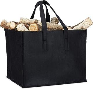 Relaxdays Felt Firewood Basket, HxWxD: 34.5 x 43 x 36.5 cm, 2 Handles, Foldable, Newspaper Holder, Black