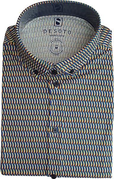 DESOTO Camisa de manga corta para hombre con cuello abotonado, no necesita planchado
