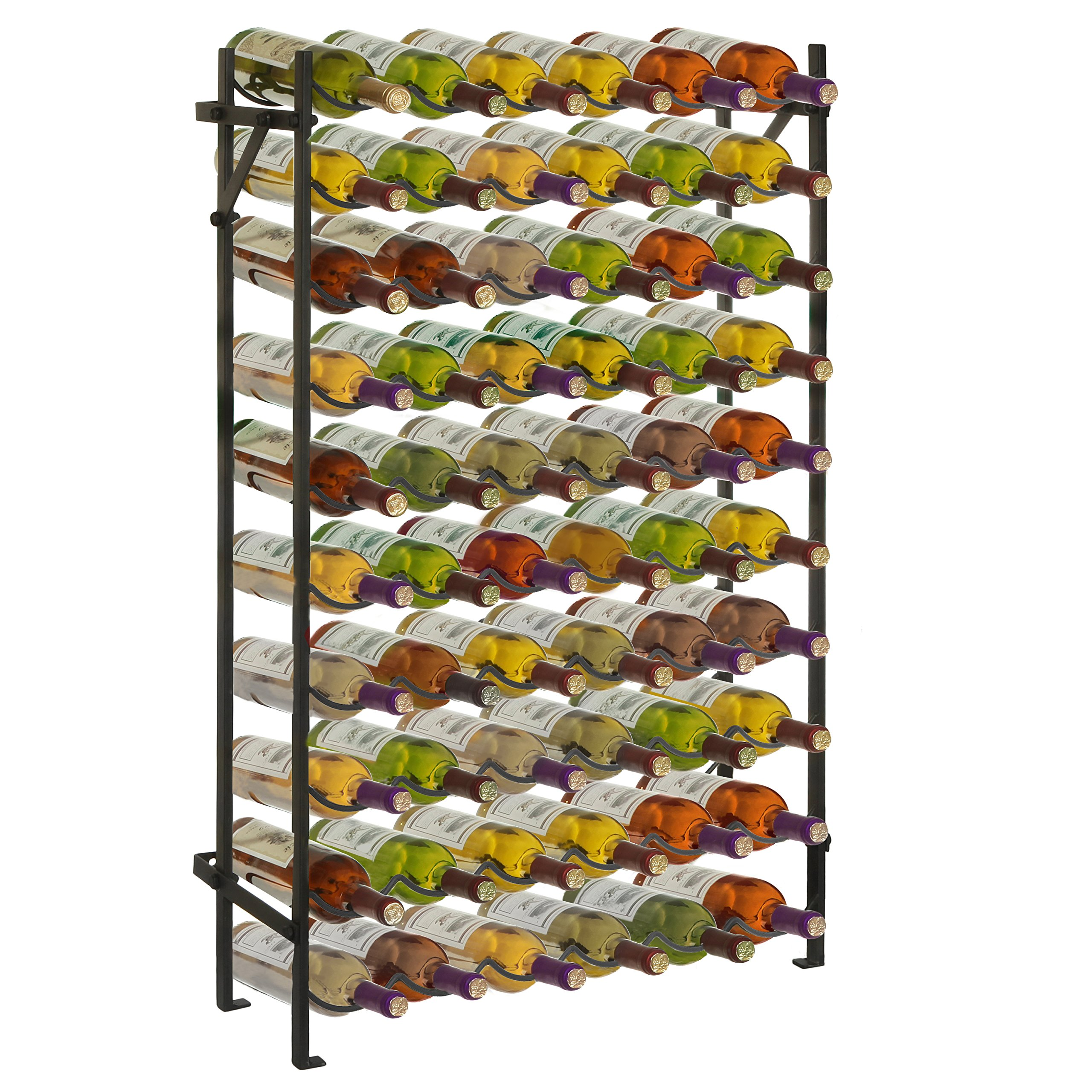 Modern Black Metal 60 Bottle Wine Cellar Organizer Rack/Wall Mounted Wine Collection Display Stand by MyGift (Image #1)