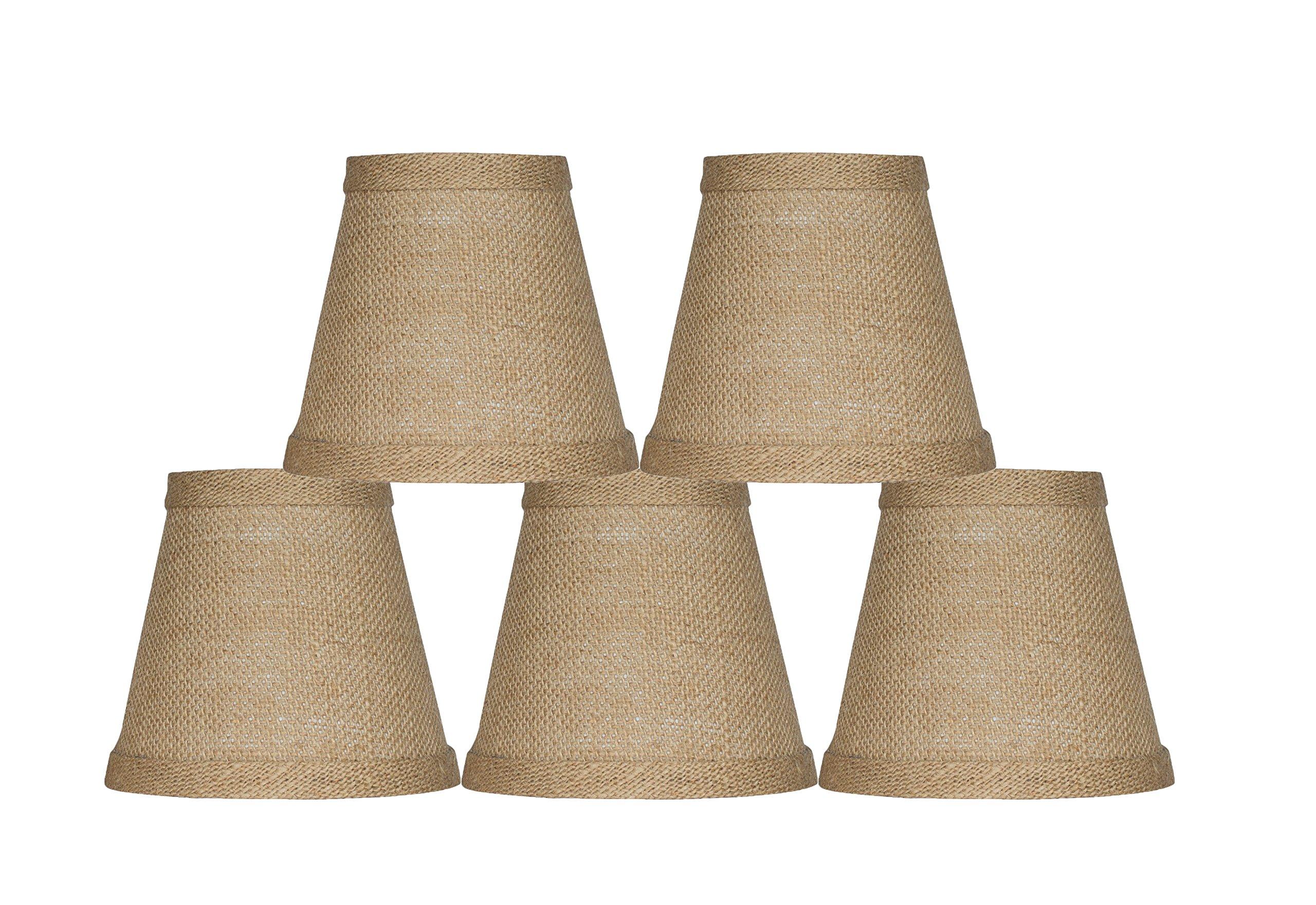 Urbanest Chandelier Lamp Shade 3x5x4.5'', Hardback, Clip On, Burlap (Set of 5)