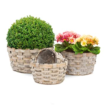 Relaxdays Round Flat Plant Baskets Set Of 4 Planters Decorative