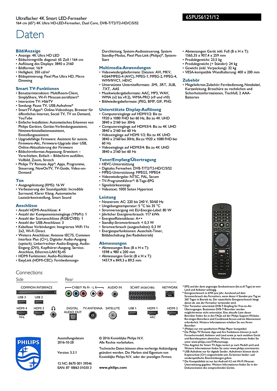 Philips 65PUS6121/12 164 cm (65 Zoll) LED Fernseher (Smart