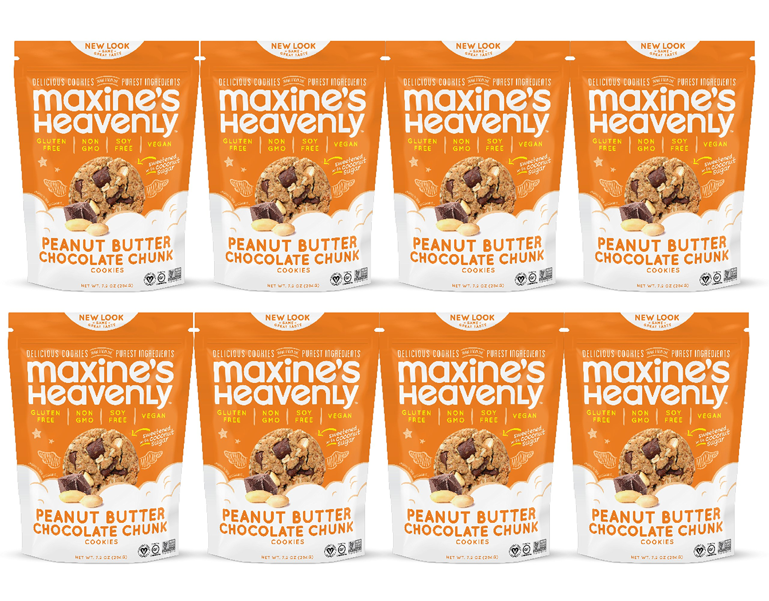 Maxine's Heavenly - Vegan, Gluten Free, Soy Free, Non-GMO - Peanut Butter Chocolate Chunk Cookies - 7.2 ounce bags (8 pack) (8) by Maxine's Heavenly
