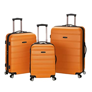 Rockland Luggage Melbourne 3 Piece Set, Orange, Medium