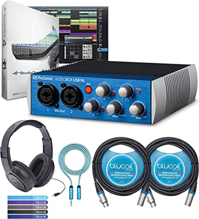 and XLR Cable Interface Color May Vary in Blue or Black Presonus AudioBox 96 Audio USB 2.0 Recording Interface and Studio One Artist Software kit with Condenser Microphone Shockmount