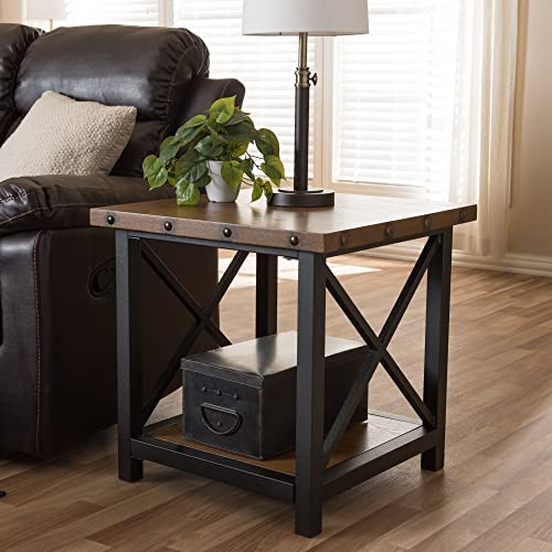 Baxton Studio Herzen Rustic Industrial Style Occasional End Table