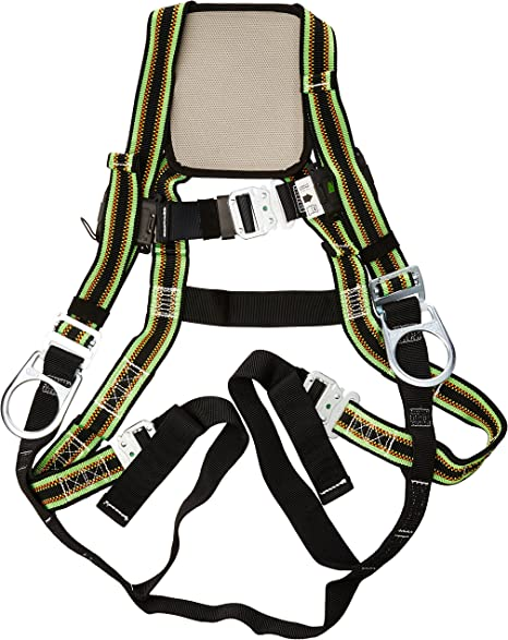 Capacity Universal Size-Large//XL E650-4//UGN 400 lb Miller DuraFlex Stretchable Full Body Safety Harness with Leg Tongue Buckles