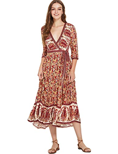 c647ee0586 Milumia Women s Bohemian Tribal Deep V Neck Flounce Hem Flare Wrap Long  Maxi Dress at Amazon Women s Clothing store