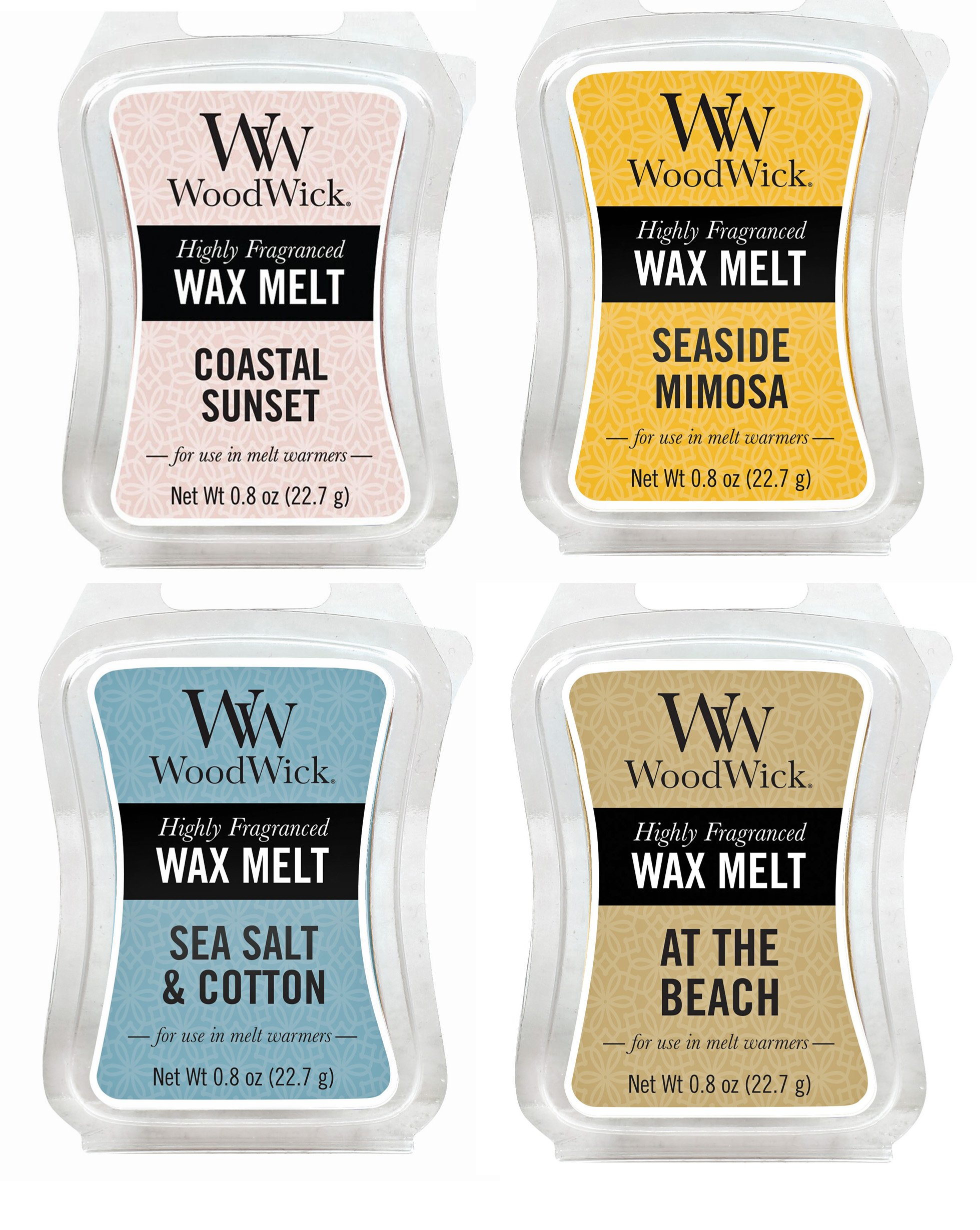 TROPICAL GETAWAY Bundle - 4 Items: At The Beach, Coastal Sunset, Sea Salt & Cotton, and Seaside Mimosa WoodWick .8oz Mini Wax Melts