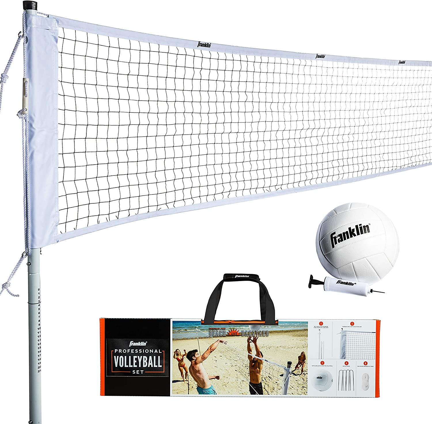 Franklin Sports 52642 Volleyball Net Professional Set Includes Pro Style Volleyball With Pump Adjustable Net Stakes Ropes Beach Or Backyard Volleyball Easy Setup Sports Outdoors Amazon Canada