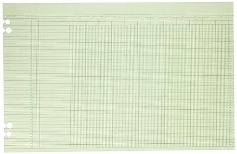 Wilson Jones Green Columnar Ruled Ledger Paper 12