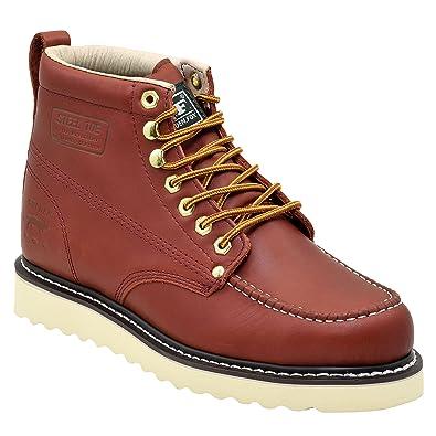 Amazon.com | Golden Fox Steel Toe Men's Lightweight Work Boots Moc ...