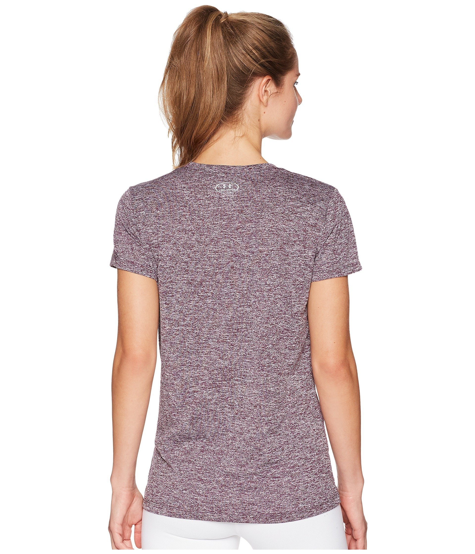 Under Armour Women's UA Tech¿ Twist V-Neck Merlot/Metallic Silver X-Small by Under Armour (Image #2)